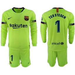 2018/19 Barcelona #1 TER STEGEN Away Long Sleeve Light Green Soccer Jersey