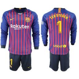 2018/19 Barcelona #1 TER STEGEN Home Long Sleeve Blue Red Soccer Jersey