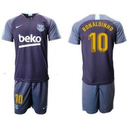 2018/19 Barcelona #10 RONALDINHO Dark Blue Training Soccer Jersey