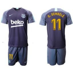 2018/19 Barcelona #11 O. DEMBELE Dark Blue Training Soccer Jersey