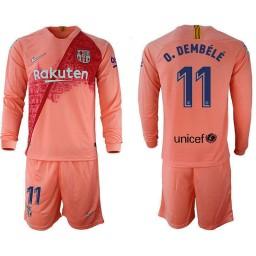 2018/19 Barcelona #11 O. DEMBELE Third Long Sleeve Pink Soccer Jersey