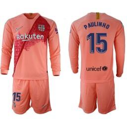 2018/19 Barcelona #15 PAULINHO Third Long Sleeve Pink Soccer Jersey