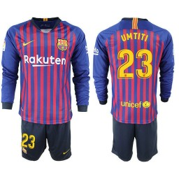 2018/19 Barcelona #23 UMTITI Home Long Sleeve Blue Red Soccer Jersey