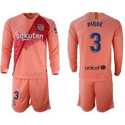 2018/19 Barcelona #3 PIQUE Third Long Sleeve Pink Soccer Jersey