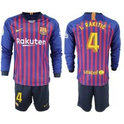 2018/19 Barcelona #4 I. RAKITIC Home Long Sleeve Blue Red Soccer Jersey