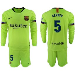 2018/19 Barcelona #5 SERGIO Away Long Sleeve Light Green Soccer Jersey