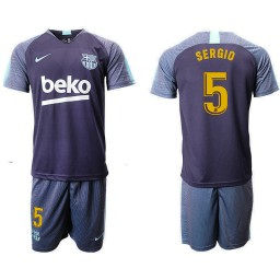 2018/19 Barcelona #5 SERGIO Dark Blue Training Soccer Jersey