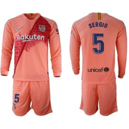 2018/19 Barcelona #5 SERGIO Third Long Sleeve Pink Soccer Jersey