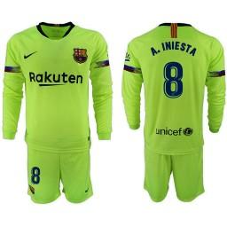 2018/19 Barcelona #8 A. INIESTA Away Long Sleeve Light Green Soccer Jersey