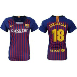 WOMEN Barcelona 2018-19 Home #18 Jordi Alba Jersey