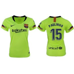 WOMEN Barcelona 2018-19 Away #15 Paulinho Yellow-green Jersey