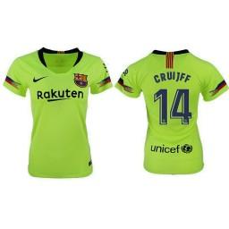 WOMEN Barcelona 2018-19 Away #14 Philippe Coutinho Yellow-green Jersey