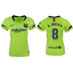 WOMEN Barcelona 2018-19 Away #8 Andres Iniesta Yellow-green Jersey