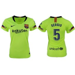 WOMEN Barcelona 2018-19 Away #5 Sergio Busquets Yellow-green Jersey
