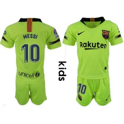 YOUTH Barcelona 2018-19 Away #10 Lionel Messi Yellow-green Jersey