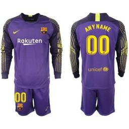 Barcelona 2018-19 Purple Custom Goalkeeper Long Sleeve Jersey