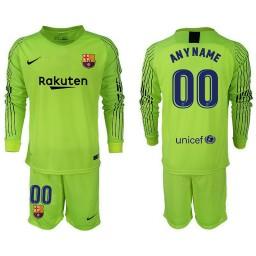Barcelona 2018-19 Fluorescent Green Custom Goalkeeper Long Sleeve Jersey