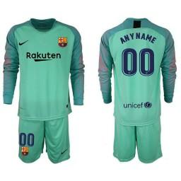 Barcelona 2018-19 Green Custom Goalkeeper Long Sleeve Jersey