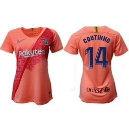 WOMEN Barcelona 2018-19 Third #14 Philippe Coutinho Pink Jersey