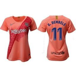 WOMEN Barcelona 2018-19 Third #11 Ousmane Dembele Pink Jersey