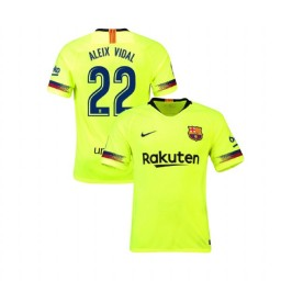 Barcelona Authentic 2018-19 Away #22 Aleix Vidal Yellow Jersey