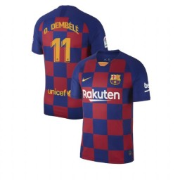 2019/20 Barcelona Authentic #11 Ousmane Dembele Blue Red Home Jersey