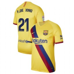 2019/20 Barcelona Authentic Stadium #21 Frenkie de Jong Yellow Away Jersey
