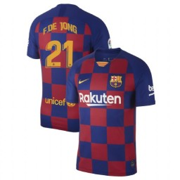2019/20 Barcelona Authentic #21 Frenkie de Jong Blue Red Home Jersey