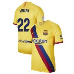2019/20 Barcelona Authentic Stadium #22 Arturo Vidal Yellow Away Jersey