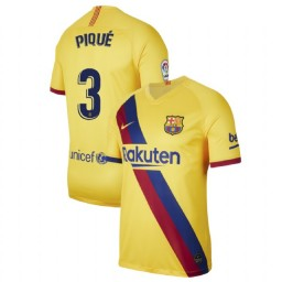 2019/20 Barcelona Authentic Stadium #3 Gerard Pique Yellow Away Jersey