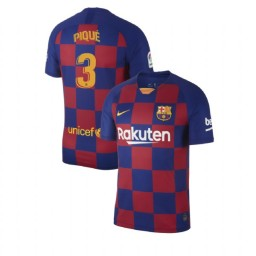 2019/20 Barcelona Authentic #3 Gerard Pique Blue Red Home Jersey