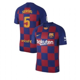 2019/20 Barcelona Authentic #5 Sergio Busquets Blue Red Home Jersey