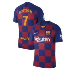 2019/20 Barcelona Authentic #7 Philippe Coutinho Blue Red Home Jersey