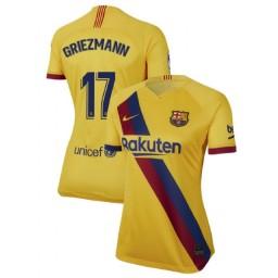 WOMEN 2019/20 Barcelona Authentic Away Stadium #17 Antoine Griezmann Yellow Jersey