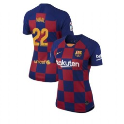 WOMEN 2019/20 Barcelona Authentic Home #22 Arturo Vidal Blue Red Jersey