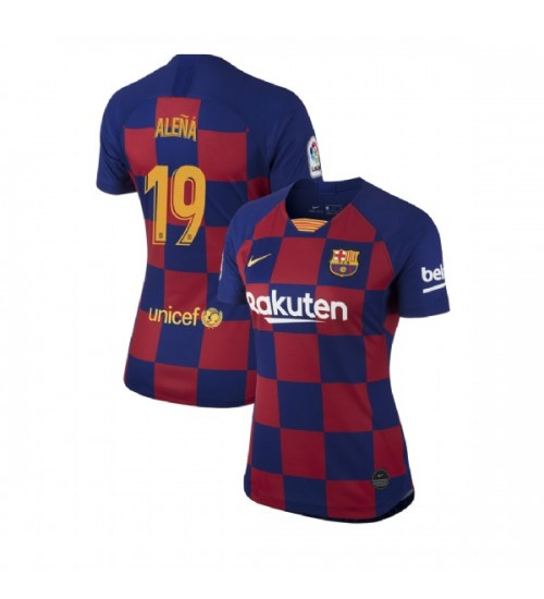 WOMEN 2019/20 Barcelona Authentic Home #19 Carles Alena Blue Red Jersey