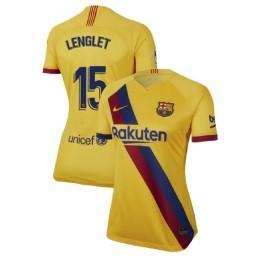WOMEN 2019/20 Barcelona Authentic Away Stadium #15 Clement Lenglet Yellow Jersey