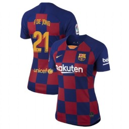 WOMEN 2019/20 Barcelona Authentic Home #21 Frenkie de Jong Blue Red Jersey