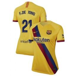 WOMEN 2019/20 Barcelona Authentic Away Stadium #21 Frenkie de Jong Yellow Jersey