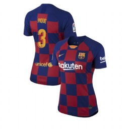 WOMEN 2019/20 Barcelona Authentic Home #3 Gerard Pique Blue Red Jersey