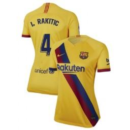WOMEN 2019/20 Barcelona Authentic Away Stadium #4 Ivan Rakitic Yellow Jersey