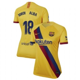WOMEN 2019/20 Barcelona Authentic Away Stadium #18 Jordi Alba Yellow Jersey