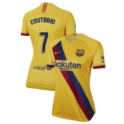 WOMEN 2019/20 Barcelona Authentic Away Stadium #7 Philippe Coutinho Yellow Jersey
