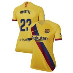 WOMEN 2019/20 Barcelona Authentic Away Stadium #23 Samuel Umtiti Yellow Jersey