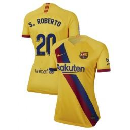 WOMEN 2019/20 Barcelona Authentic Away Stadium #20 Sergi Roberto Yellow Jersey