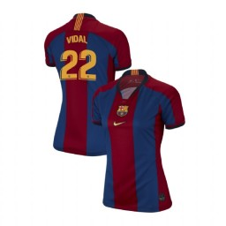 WOMEN Arturo Vidal Barcelona Authentic El Clasico Blue Red Retro Jersey