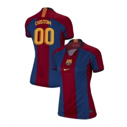 WOMEN Custom Barcelona Authentic El Clasico Blue Red Retro Jersey