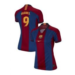 WOMEN Luis Suarez Barcelona Authentic El Clasico Blue Red Retro Jersey