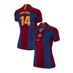 WOMEN Malcom Barcelona Authentic El Clasico Blue Red Retro Jersey