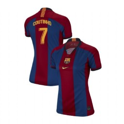 WOMEN Philippe Coutinho Barcelona Authentic El Clasico Blue Red Retro Jersey